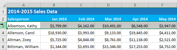 Freeze titles for added visibility in Excel