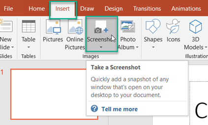 Screenshots in PowerPoint