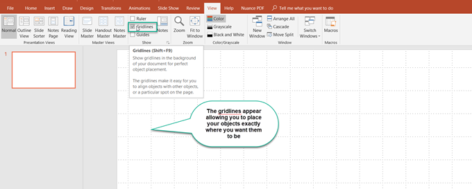 Nudging around the PowerPoint Grid