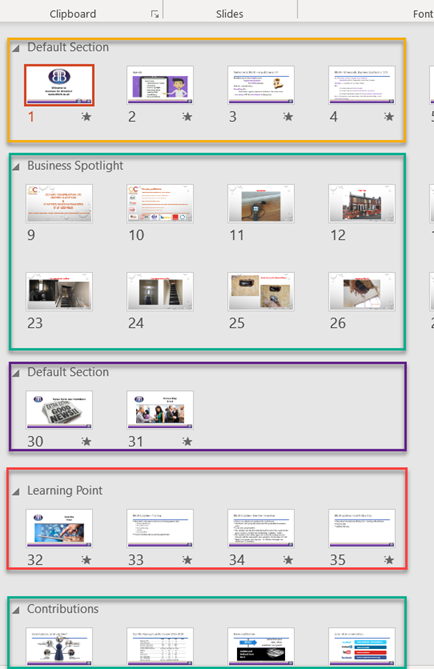 Sections in your slideshow